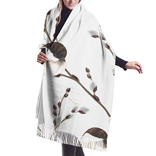 LisaArticles Bufanda unisex de hoja vintage con ramas de sauce y pájaros, bufandas unisex duraderas de moda para escalada deportiva,68x196cm