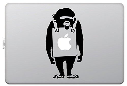 WOLFING 全サイズ MacBook 対応 アートステッカー スキンシール Banksy バンクシー Monkey モンキー ブラック 11インチ 083