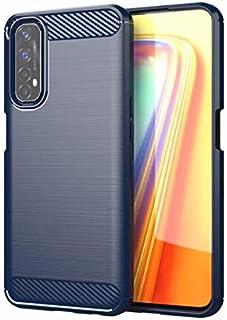 جراب Realme 7 Pro، جراب هاتف ناعم من مادة TPU [نسيج ألياف الكربون] [امتصاص الصدمات] واقيات الهاتف لـ Realme 7 Pro 4G (أزرق)