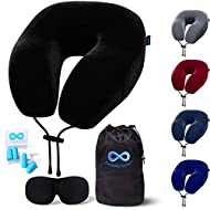 Everlasting Comfort Travel Neck Pillow - Memory Foam Travel Pillow - Airplane Pillow Accessories - Traveling Neck Rest for Plane