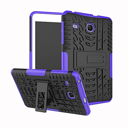 Tablet Protective Case Tablet Cover for Samsung Galaxy Tab E 8.0 inch 2017/T377/T378 Tire Texture Shockproof TPU+PC Protective Case with Folding Handle Stand (Color : Purple)