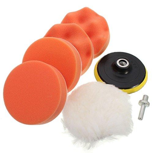GZQES Kit Pulido de Esponja Pulidora del Coche de Pintura Limpio, Bruto Pulido Kit con Adaptador de Taladro para Coche,Accesorios para Lijado y Pulido (4 Inch)
