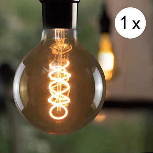 LED Edison Glühbirne E27, Vintage Kugel Glühlampe 4W, GBLY LED Globelampe Dekorative Antike Lampen, Warmweiß 2700K Filament Bulb für Nostalgie und Retro Beleuchtung im Haus Café Bar, Nicht Dimmbar