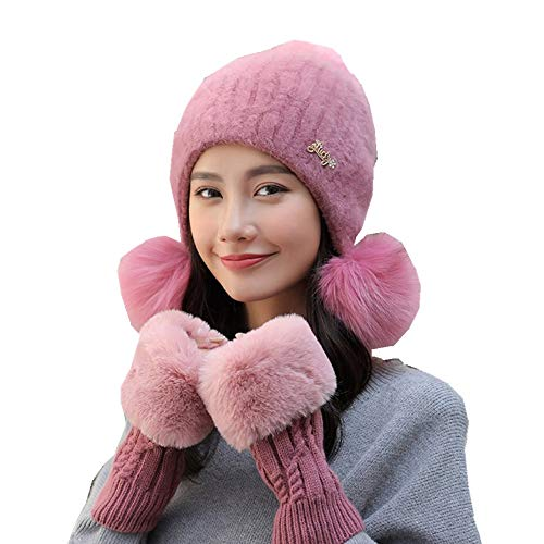 Damen Warme Winter Plüsch Zwei Bommel Mütze Handschuh Set Wintermütze Gestrickt Beanie Mütze Strickm Stillshine (Rosa)