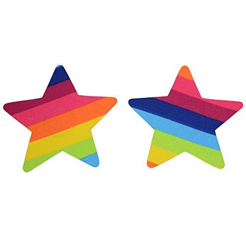 LIPS & CHERRY Pezoneras Rainbow Star Copricapezzoli, Multicolore (Multicolor F054), Medium (Taglia Produttore: S/M) Donna
