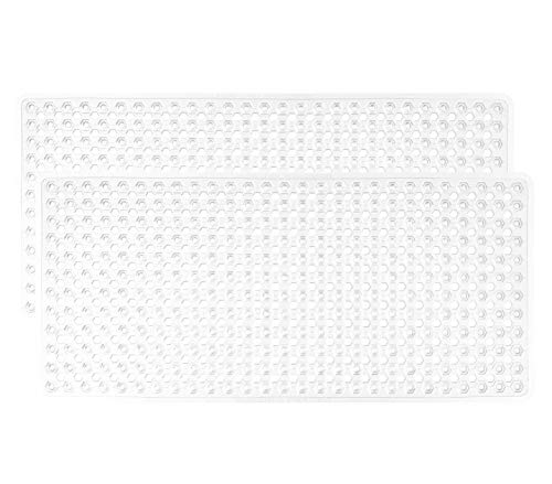 Gorilla Grip Original Patented Bath, Shower, Tub Mat (35x16) Washable, Bathtub Mats with Drain Holes, Suction Cups, XL Size Bathroom Mats, 2 Pack (White)