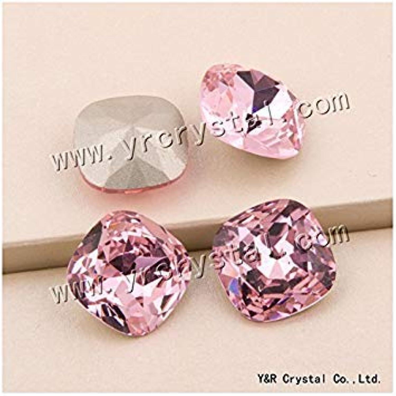 Generic 10mm 45Pcs   YANRUO  4470 8 10 12 18 mm pink Bright Diamond Pointback Stones Glass Beads Crystal Strass Fancy Loose Rhinestone Cushion Cut