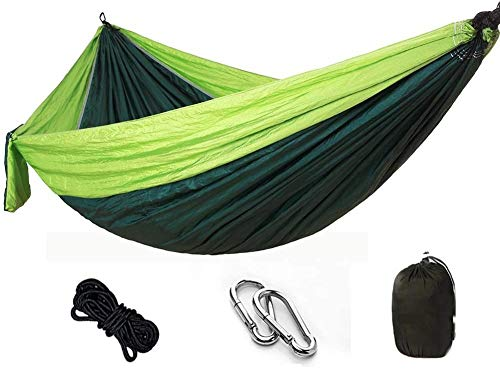 WXWS Ultra-Light Travel Camping Hammock | 300kg Load Capacity Breathable,Quick-Drying Parachute Nylon | 2 x Premium Carabiners,2 x Nylon Slings Included (275 x 140 cm, Green)