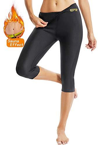 SEASUM Pantaloni Dimagrante Donna Leggins Sauna Neoprene Vita Alta Pantaloncino Termici Sudore Hot Shaper per Allenamento Perdita di Peso Sudorazione Yoga Fitness, B-Nero XXL