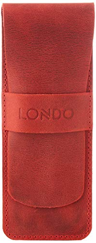 Londo Genuine Leather Pen and Pencil Case with Tuck in Flap (Red), Model: OTTO286