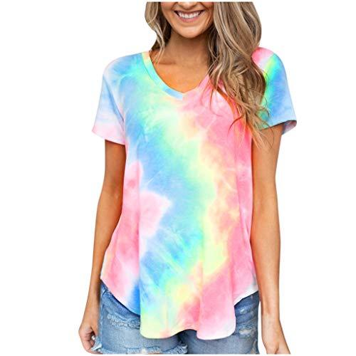 Camiseta de manga corta para mujer con cuello en V y degradado, estilo Winkey Multicolor Multicolor M