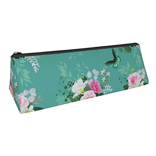 Beautiful Seamless Pattern With Floral Bunches Of Roses Pencil Case Portable Stylish Triangle Pencil Pouch With Zipper Cosmetic Pouch Bag For Boys Teens Adults Students School