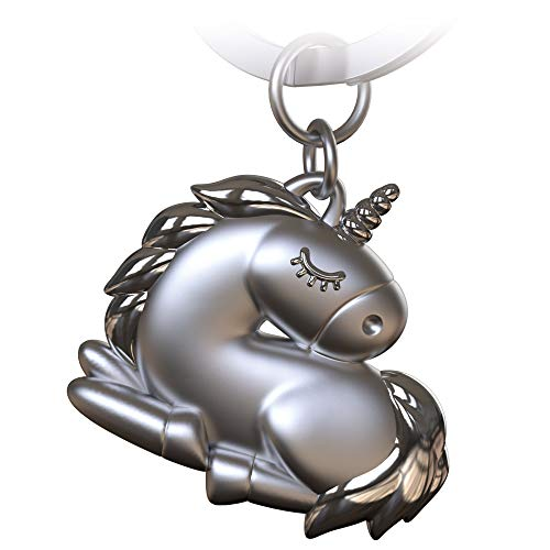 FABACH Einhorn Schlüsselanhänger Sleepy - Schlafendes Einhorn Glücksbringer für Damen in Silber - Unicorn Anhänger als Geschenk für Beste Freundin, Partnerin