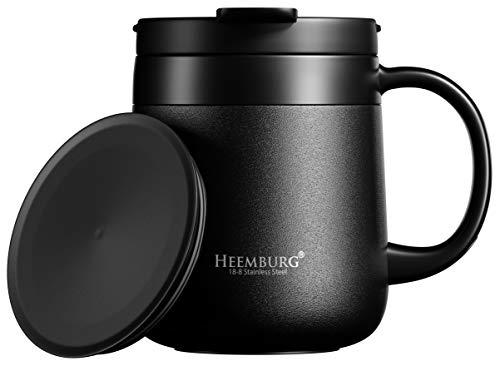 Heemburg Edelstahl Kaffeebecher, Thermobecher, Vakuum Isoliert, Teebecher, Tasse mit Zwei Deckeln und Henkel für Büro Schreibtisch Arbeit