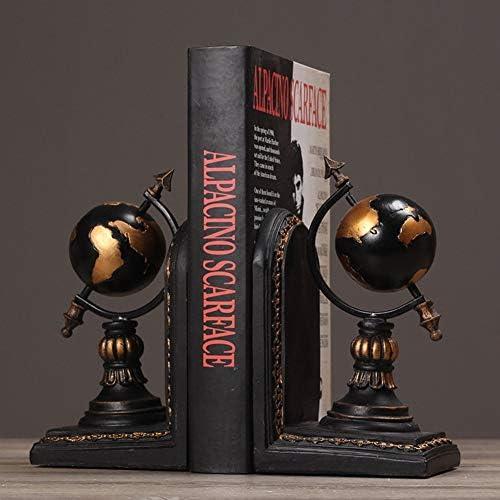 Bücherregal Büro Globen Buchstützen Retro kreative Buchstützen Dekoration Studie Buch-Schwarzfür ein Geschenk (Farbe   schwarz)
