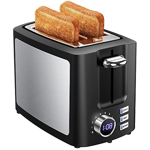 Toaster 2 Slice Extra-Wide Slot, LED Display & 9 Shade Settings, Stainless...