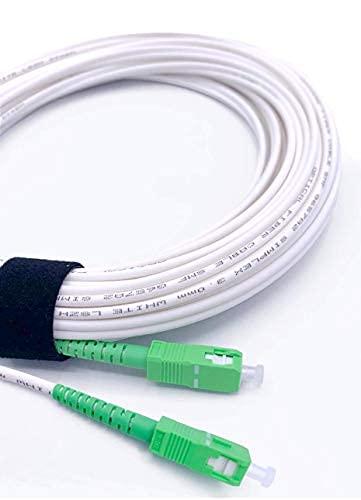 Elfcam Fibra óptica Cable SC APC a SC APC monomodo simplex 9 125µm LSZH, Blanco Verde (7M)
