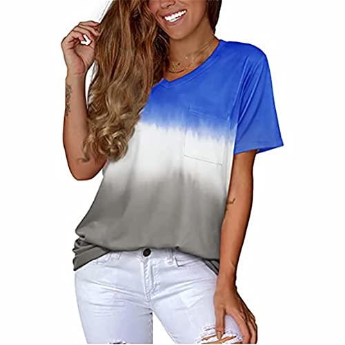 ZFQQ Camiseta Holgada Informal con Cuello en V y Degradado de Moda para Mujer de Verano