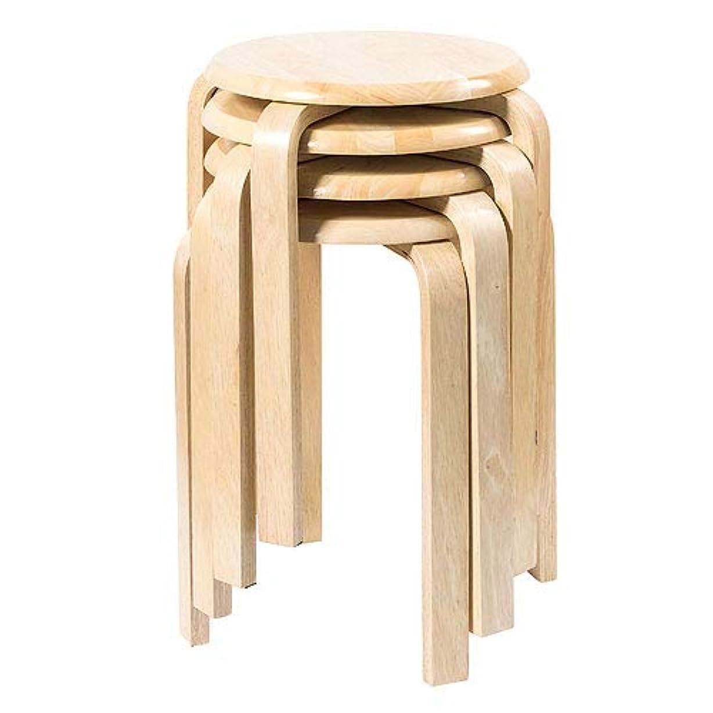 トピックヨーグルトコンセンサスイーサプライ 組立済 丸椅子 木製 天然木 スツール スタッキング 4脚セット ナチュラル EEX-CH41X4
