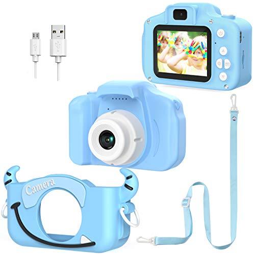 Cámara Digital para niños, Doble Lente, Fotos, vídeos y Juegos para niños, 1080P HD, con Tarjeta SD de 32 GB, Pantalla de 2 Pulgadas, Zoom de 8 aumentos (Azul)