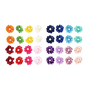 POPETPOP Dog Hair Bows – Beautiful Flower Design Dog Topknot Hair Bows with Rubber Bands, Dog Hair Accessories Pet Headwear (Mixed Color)