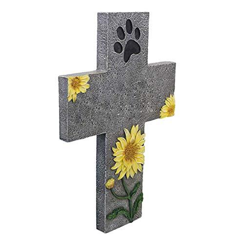 Genlesh Gedenkstein für Haustiere, Grabschmuck, Pfotenabdruckmotiv, für Hunde/Katzen, Grabschmuck, Cross