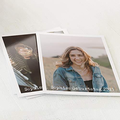 sendmoments Wir drucken Ihre Fotos, 5 Fotoabzüge im Digitaldruck, hochwertige Fotodrucke, Geburtstags-Fotos als Retro-Bilder Frau, individuell mit Text verziert, optional mit Goldfolie veredelt