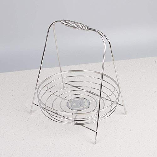 Good dress Household Storage Bowls Fruit Basket with Handle, Stainless Steel Large Capacity Fruit Basket, Simple Household Fruit Basket Desktop Storage Basket, 27 * 22 * 22Cm Silver