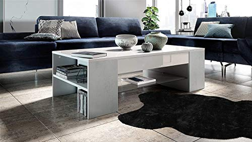 Qyz Modern Design Coffee Table, Coffee Table Side Table Clip In White With Offsets In Concrete Grey Oxid,118 x 37 x 60cm Personalized living room