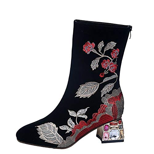 Women's Retro Pointed Toe Dress Short Boots Embroidered Flowers Chunky High Heel Zipper Short Booties