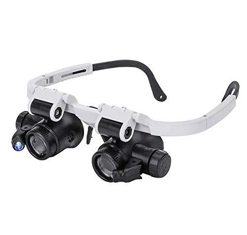 FZYQY Gafas Lupa con LED Luz,3 Lentes Reemplazables(8X 15X 23X) para Leer,de Reparación Relojes,Costura,Manualidades