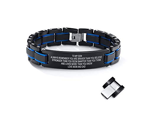 2-Tone Blue Black Masculine Stainless Steel To My Son Always Remember You are Braver Motivational Link Bracelet Love Dad Mom,Christmas Gift for Son