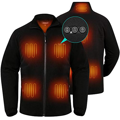 Men`s Heated Fleece Jacket with Battery, Electric Heating Coat Full Zip w/ 8 Heating Areas and Phone Charging Function