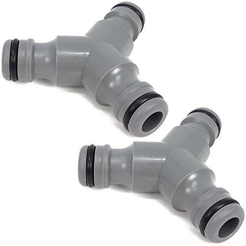 com-four® 2X Y-Ventil zur Verbindung von DREI Schläuchen - Y-Verteiler zur Schlauchabzweigung - Wasseranschluss Verteiler - grau, 13 mm (1/2
