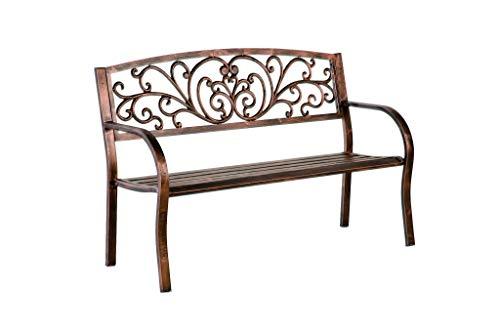 Plow & Hearth Blooming Patio Garden Bench Park Yard Outdoor Furniture, Iron Metal