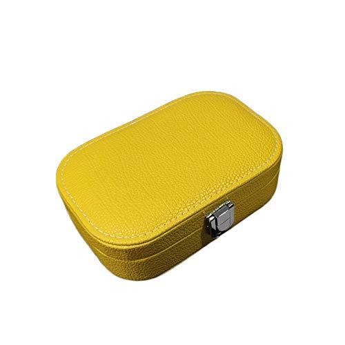 Parshall Joyero organizador para pendientes anillos pulseras caja de reloj piel sintética portátil soporte exhibición joyas pequeña caja regalo con espejo para mujeres niñas 15 x 10 x 5 cm amarillo