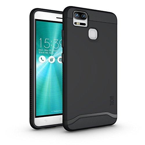 TUDIA ZenFone 3 Zoom Hülle, Slim-Fit Merge Dual Layer Schutzhülle für Asus ZenFone 3 Zoom (ZE553KL) (Matte Black)