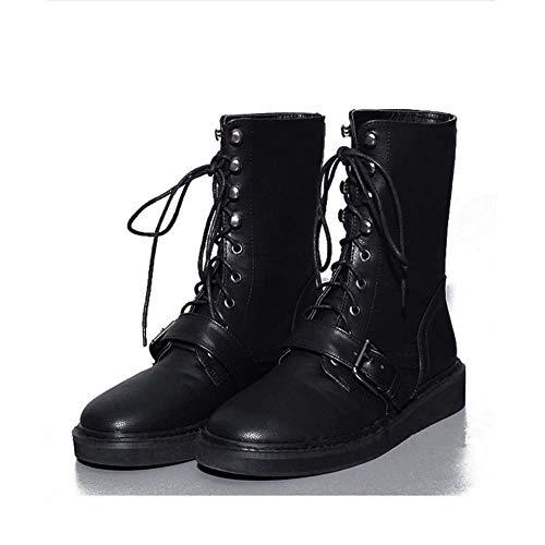 Dames Schoenen Laarzen 2019 Herfst Winter Nieuwe Leer Lace-Up Martins Laarzen Platte Slip-Ons Rijschoenen Combat Laarzen 36 Zwart