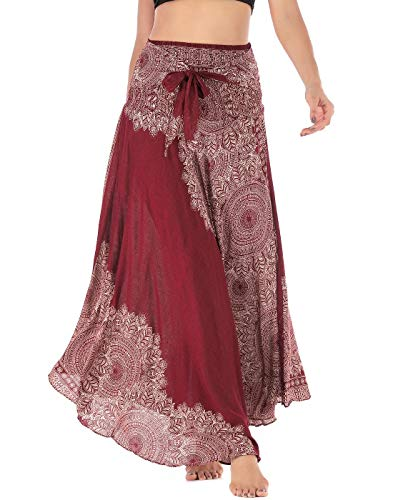 FEOYA Lang Gedruckter Rock Damen Chiffon Bohemien Maxirock Verstellbares Riemen Kleid Freizeit Urlaub Sommerrock Strandkleider - Muster 10