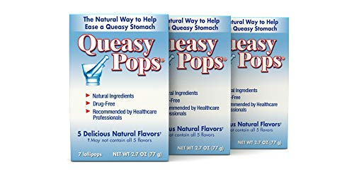 Queasy Pops | 3 Pack: 7 Lollipops | Nausea Relief (Chemo, Motion Sickness, Hangover etc.) | Drug Free \& Gluten Free | 7 Flavors: Green Tea with Lemon, Ginger, Peppermint \& More