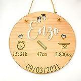 Little_Dreams_ birth plate birthday Natalicio, Placa nacimiento bebé personalizada redondo madera de haya 20cm de diametro hecho a mano handmade