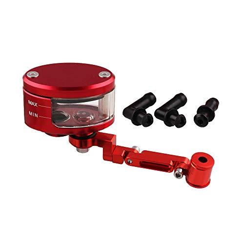 CNC-Motorrad-Bremsen-Kupplungs-Geberzylinder Bremsflüssigkeitsbehälter aus Aluminium-Behälter Klar Oil Cup Motorrad (Red)