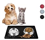 Pet Silicone Feeding Mat for Dogs Cats Rabbits, Non-Slip Grip for Wood Floor or Carpet, Waterproof Mat for Bowls Food Treats, Large 48cm x 30cm (Black)