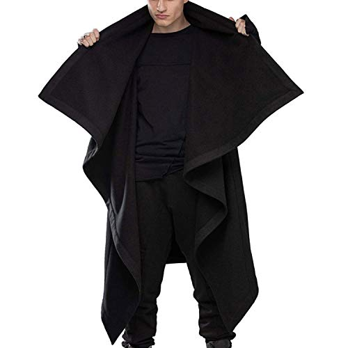 LZJDS Men's Long Sleeve Sweatshirt Cardigan Cloak, Men's Cape Jacket Street Style Standing Collar Solid Color Long Sleeve Fashion Punk Irregular Windbreaker,Black,L