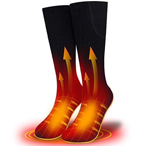 XBUTY 2020 - Calzini riscaldati ricaricabili per uomini e donne, 7,4 V 2500 mAh, batteria termica scaldapiedi per ciclismo, moto, escursionismo, caccia, campeggio, snowboard