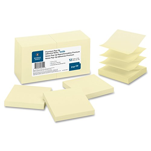 Business Source Pop-Up Adhesive Notes - 3 x 3 Inches - Pack of 12 Pads of 100 - Yellow