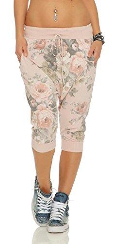 Shirtella 136 Damen Capri Hose Haremshose Ballonhose Pluderhose Pumphose Aladinhose Sommerhose Blumen Print floral Baggy Pants 3/4 Rosa