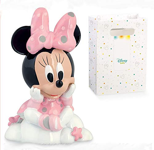 Statuetta a forma di Minnie con fiocco rosa in resina su una nuvola, firmata Disney, bomboniere battesimo, cake topper compleanno bimba, completo di scatola regalo (senza confezionamento)