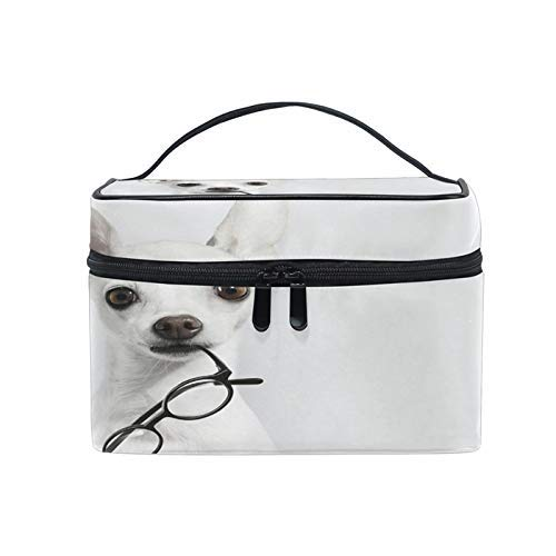 Bolsas de Maquillaje de Viaje con Cremallera Cute White Puppy Dog Glasses Bolsa de cosméticos Bolsas de Aseo Bolsas de Tren Bolsas de Almacenamiento