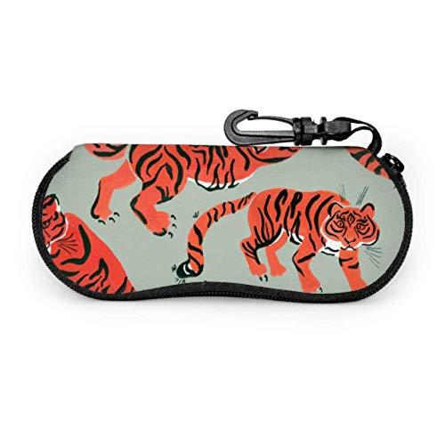 Fundas de gafas Strong Tiger Painted Hombre Ultra Ligero Neopreno con Cremallera Almacenaje Lente Suave Sunglasses Case 8 * 17cm